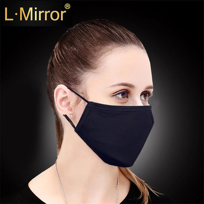 L.Mirror 1Pcs Cotton PM2.5 Black Mouth Mask Anti Dust Mask Activated Carbon Filter Windproof Mouth-muffle Bacteria Flu Face Mask