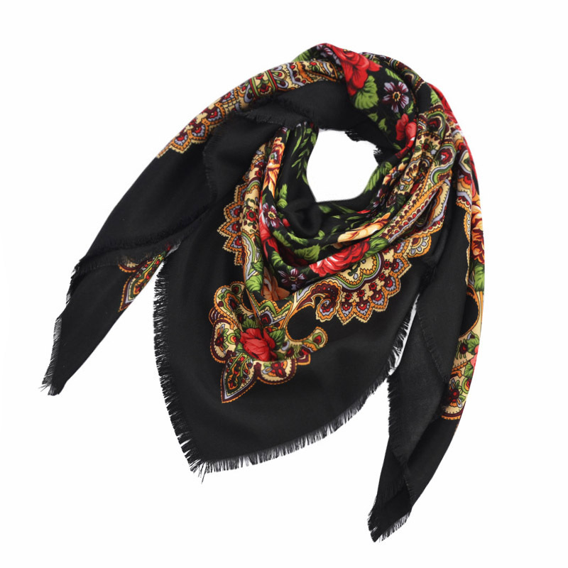 Square Russian Women Scarf Shawl Lady Retro Floral Printed Short Tassel Headband Retro Cape Wrap Scarves Spain Hair Handkerchief