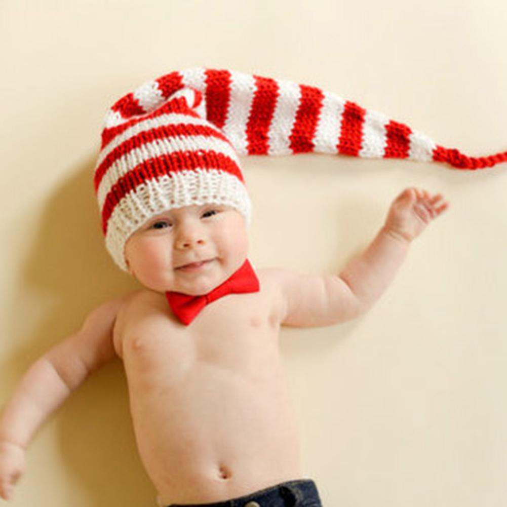 Lovely Stripes Bowknot Baby Long Tail Hat Crochet Christmas Cap Photo Props Baby Photography Cap