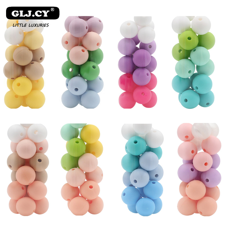 Baby Teether 12mm 30pc Round Colorful Silicone Beads Food Grade Silicone Teether DIY Crafts Accessories Teething Toys