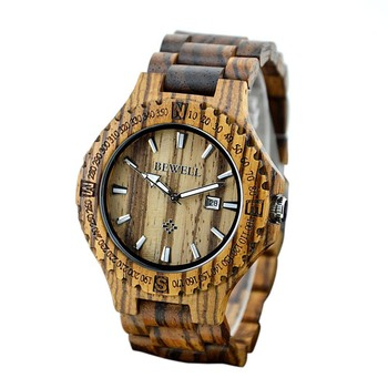 【USA Warehouse】BEWELL Brand W023A Men Wooden Quartz Watch with Calendar Display