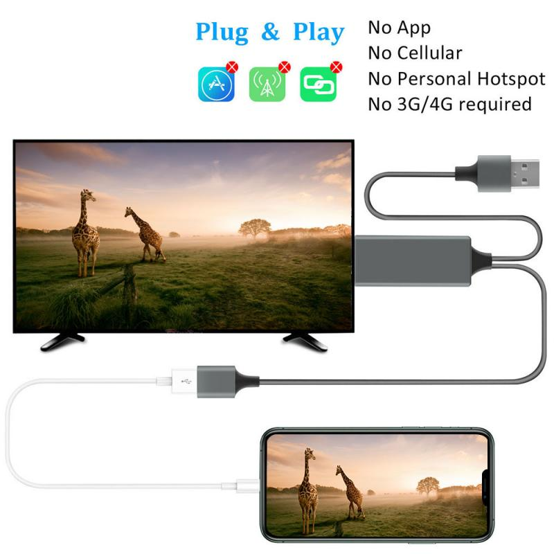 3 in 1 USB to HDMI-compatible with Audio Mirror Cast Cable for iPhone Android Phone to LED TV Projector Type C Micro USB