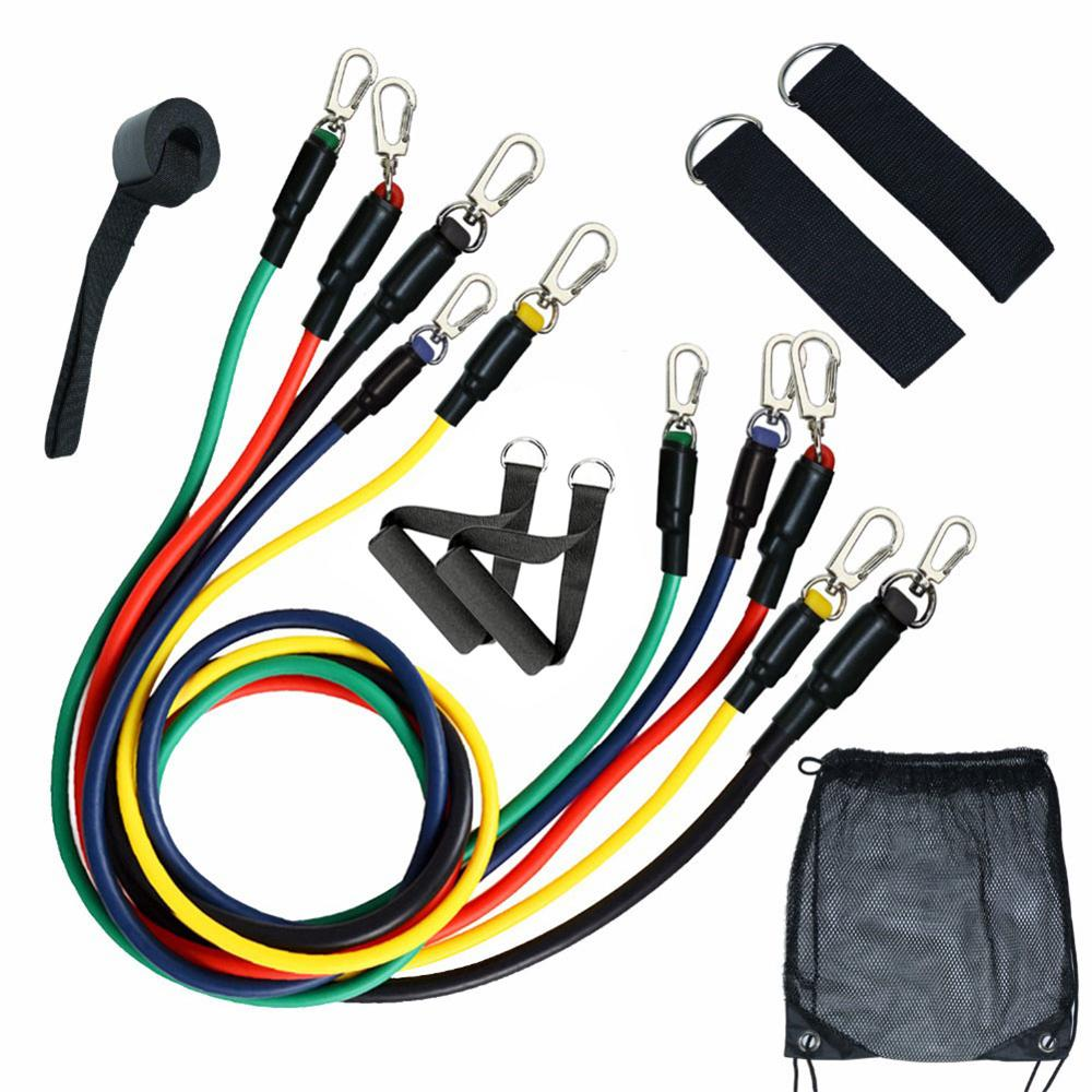 11pcs Pull Rope Fitness Exercises Resistance Bands Set Training Yoga Band Gym Fitness Equipment(China)