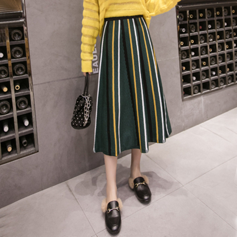 Winter Chic Knitted Skirts Women High Waist Striped Midi Skirt Autumn Vintage Sweater Tutu Skirt