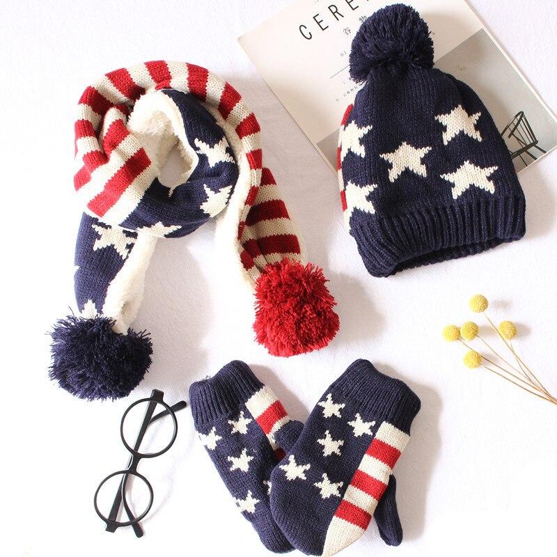 Winter Children Pompom Knit Beanies Hat Scarf Gloves 3 Pieces Set Boy Girl Soft Cap Scarves Baby Wool Kids Bone Stars Printed
