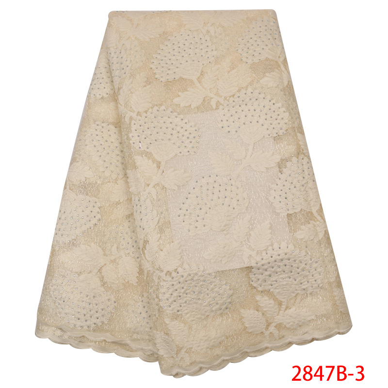 African Organza Lace Fabric Latest,High Quaity French Tulle Lace Fabric,Nigerian Double Net Lace With Stones KS2847B-3