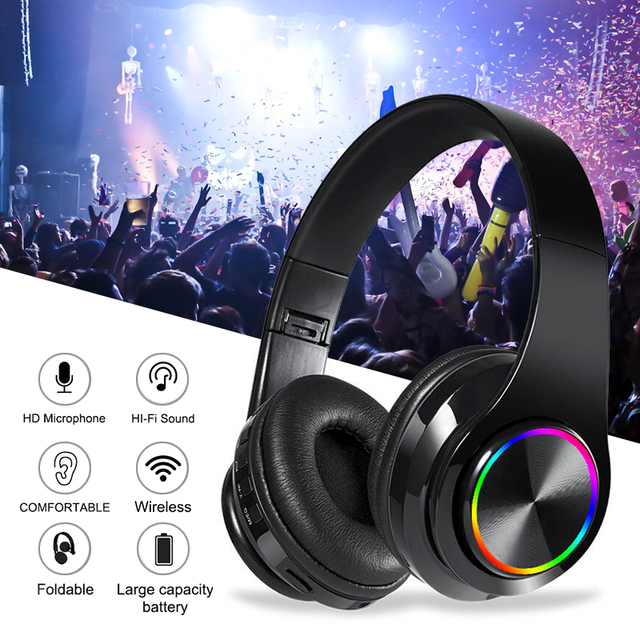 Fast Shipping Portable Bluetooth Wireless Headphones Stereo Foldable Headset Audio Mp3 Adjustable Earphones With Mic For Music