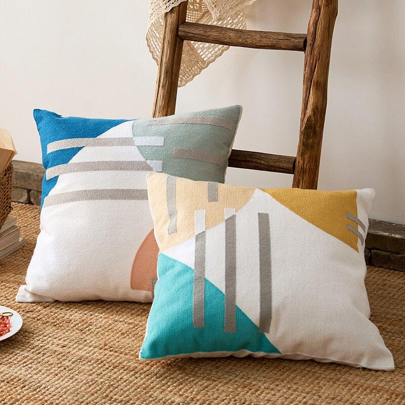 Abstract Throw Cushion Cover 45x45cm Home Decorative Pillow Case  Cotton Thread Embroidery Color Block Pillow Cover Art Decor