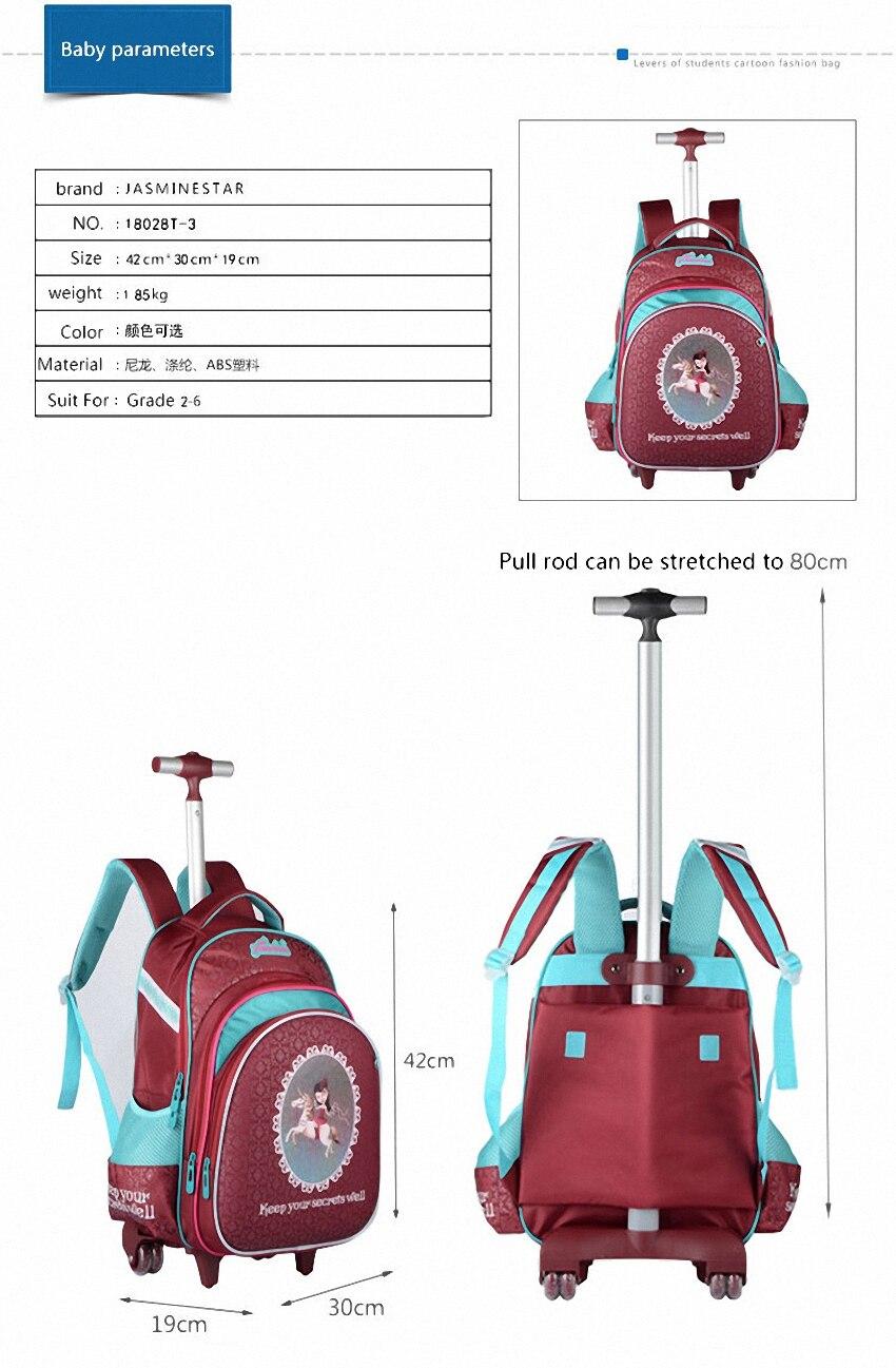 3 uds. Mochila escolar para niños mochilas para ordenador portátil para niñas con ruedas mochilas para niños equipaje de gran capacidad mochilas de escuela para niñas - 3