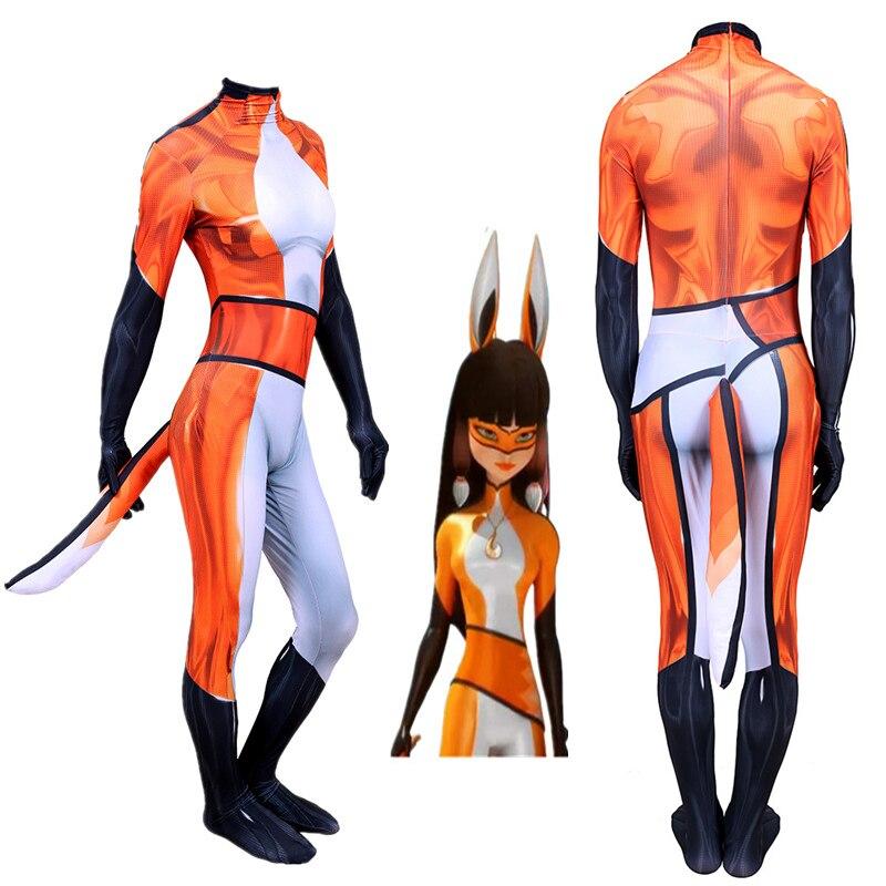 3D Printing Alya Volpina Ladybug Tales & Cat Noir Cosplay Costume Women Spandex Superhero Halloween Party adult kids Bodysuit
