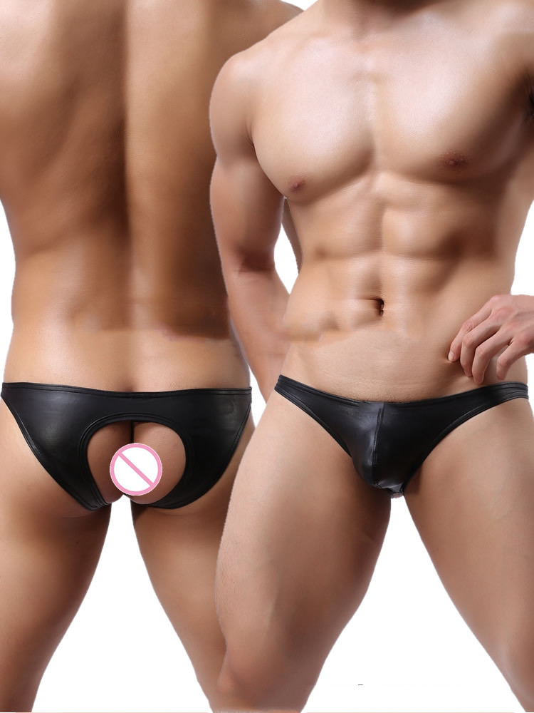 2019 Sexy Gay Underwear Men G-string Thongs Faux Leather Hollow Back Jockstrap Man Lingerie Low Waist Pouch Underpants