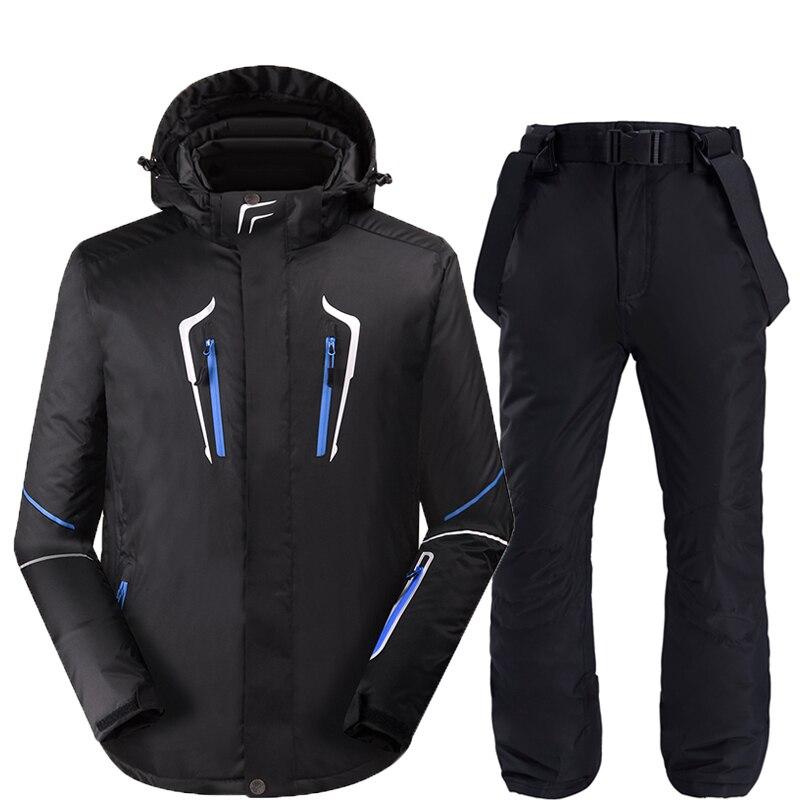 Nouveaux ensembles de combinaison de neige pour hommes vêtements de snowboard tenue de sport d'hiver en plein air imperméable coupe-vent vestes de ski + pantalon de ceinture de neige
