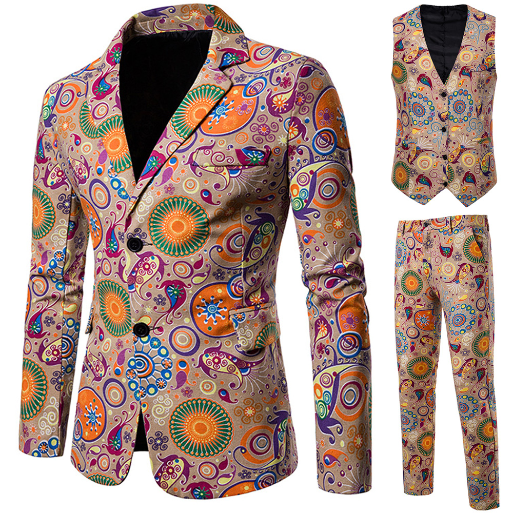 New Chinese Style Print Suit Men Banquet Stage Singer Wear 3 Pieces Set Slim Fit Wedding Tuxedo (Jacket + Vest + Pants)