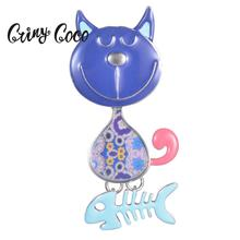 Cring Coco Enamel Blue Cat Brooches and Pins Cartoons Pet Animal Jewelry Accessories Metal Brooch for Kids Women Dropshipping