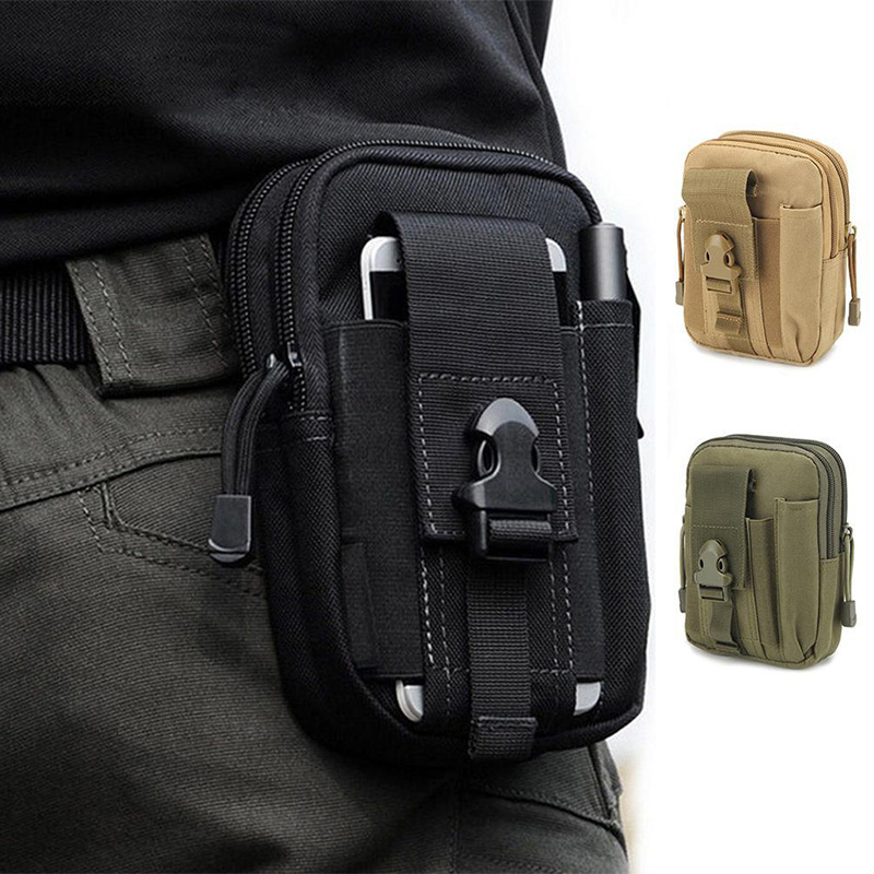 Men Waist Bag Canvas Fanny Pack Belt Phone Drop Leg Bags Military Zipper Waterproof Phone Waist Packs 6.8 Inch Cellphone Bum Bag