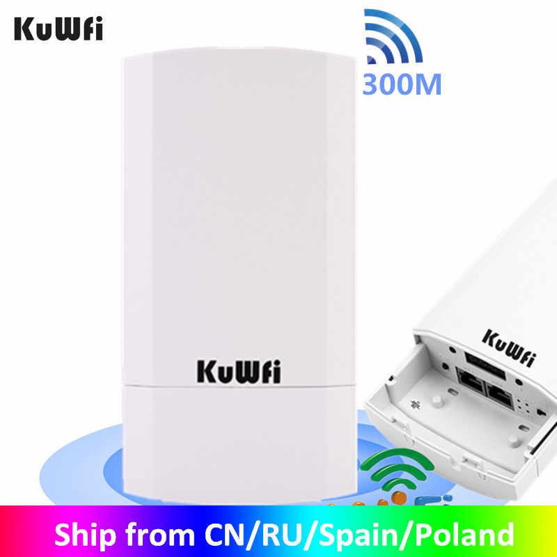 KuWFi WIFI WIFI Router 300Mbps Wireless Repeater/WiFi Bridgeยาว 2.4GHz 1KM CPEกลางแจ้งAPสะพาน 24V POE LANและWAN