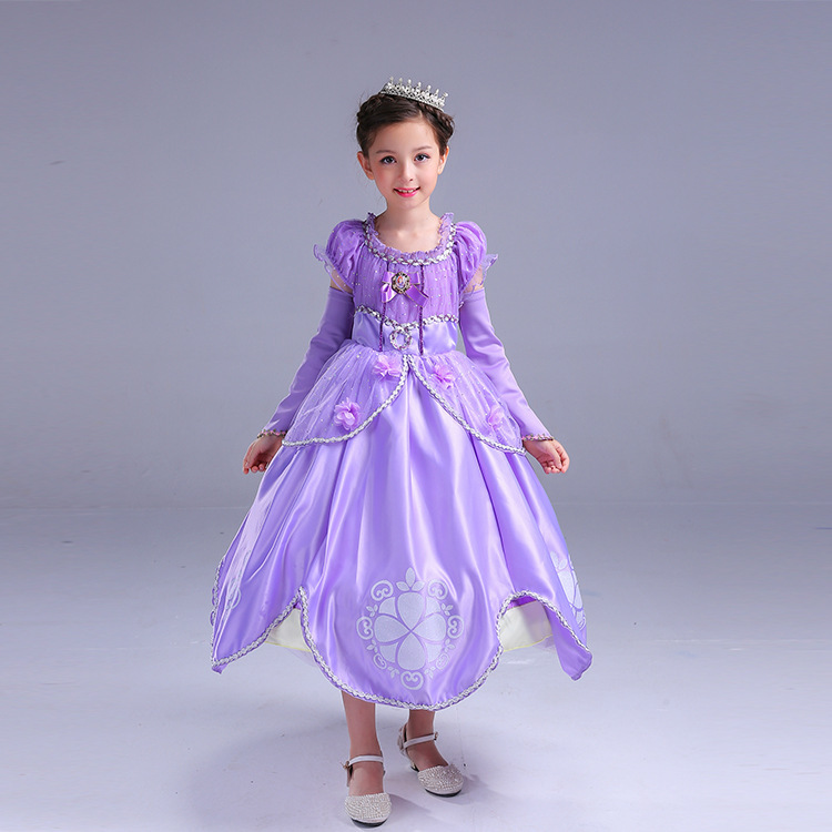 Sophia Flower Tutu Girls Princess Skirt Sophia Full Body Dress Long Performance Skirt