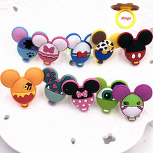 1PCS Cartoon Mickey Minnie Head Icon PVC Finger Rings Boys Girls Children Character Cosplay Animal Party Gifts Jewelry(China)
