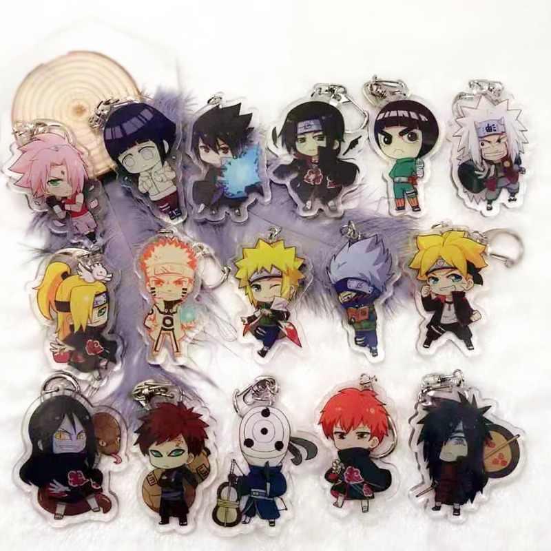 Anime naruto acrílico chaveiro uchiha obito deitara sasori uchiha itachi desenhos animados duplo-face pingente chaveiro jóias acessório