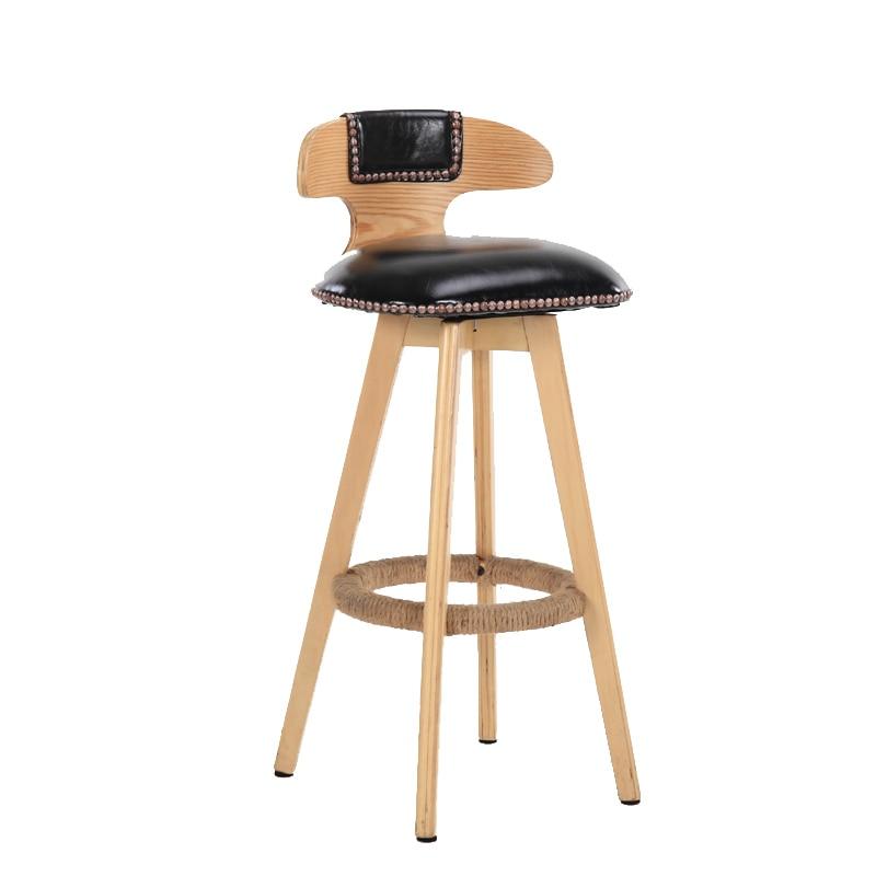 Solid Wood Bar Chair Creative Bar Chair European Front Desk Chair Rotating Retro Bar Stool Simple High Stool