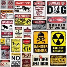 Advertencia divertida Vintage signo de Metal estaño signo No señal de allanamiento de morada de la pared para la decoración de la cueva del hombre casa decoración de la pared de Metal carteles