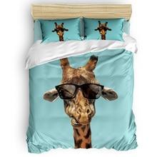 Giraffes Wearing Sunglasses Are Funny Printing Custom Bedding Set 3D