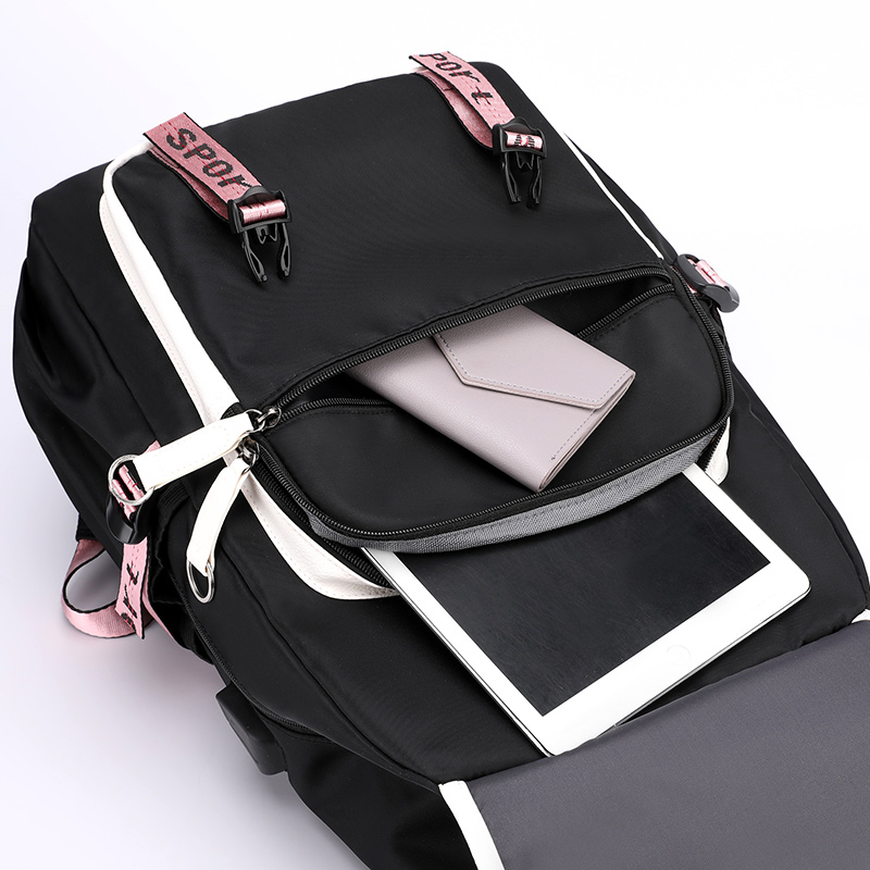 Nylon laptop Backpack Women School Bags for Teenage Girls Preppy Style Large Capacity USB Back Pack Rucksack Youth Bagpack 2019