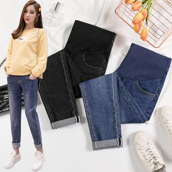 Jeansowe jeansy ciążowe dla kobiet w ciąży spodnie jesień dorywczo luźne spodnie jeansowe ciążowe spodnie ciążowe tanie i dobre opinie CN (pochodzenie) Denim Elastyczny pas Naturalny kolor light LOOSE COTTON spandex