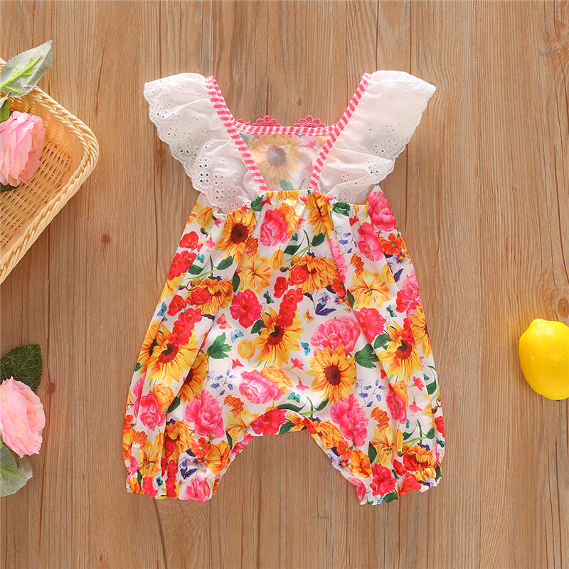 0 24M sunflower baby girl onesie newborn baby girl clothes floral babe bodysuit lace body enfant twin baby in Rompers from Mother Kids