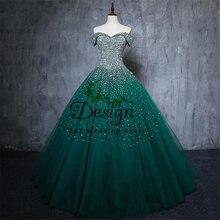 С открытыми плечами зеленый Бисер блестки зеленое бальное платье