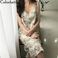 Colorfaith New 2020 Women Spring Summer Sundress V-Neck Beach Holiday Backless Loose Sexy Flower Print Vintage Long Dress DR140