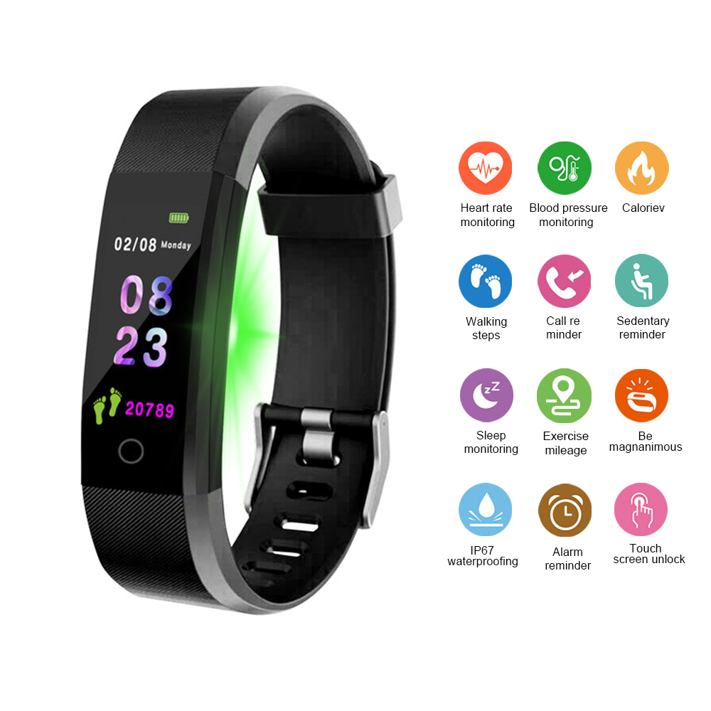 Abay Men Smart Watch Color Screen Sports Smartwatch Heart Rate Monitor Women Fitness Tracker watch For Android IOS