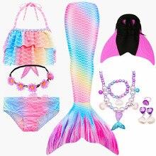 2020 HEIßE Kinder Mädchen Meerjungfrau Schwänze mit Fin Badeanzug Bikini Badeanzug Kleid für Mädchen Mit Flipper Monofin Für Schwimmen
