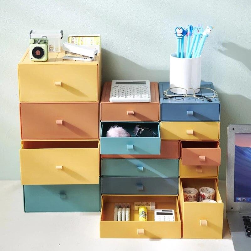 Nordic Stackable Desktop Organizer Box Office Sundries Box Bathroom Accessories Storage Drawer Cosmetics Jewelry Masks Holder