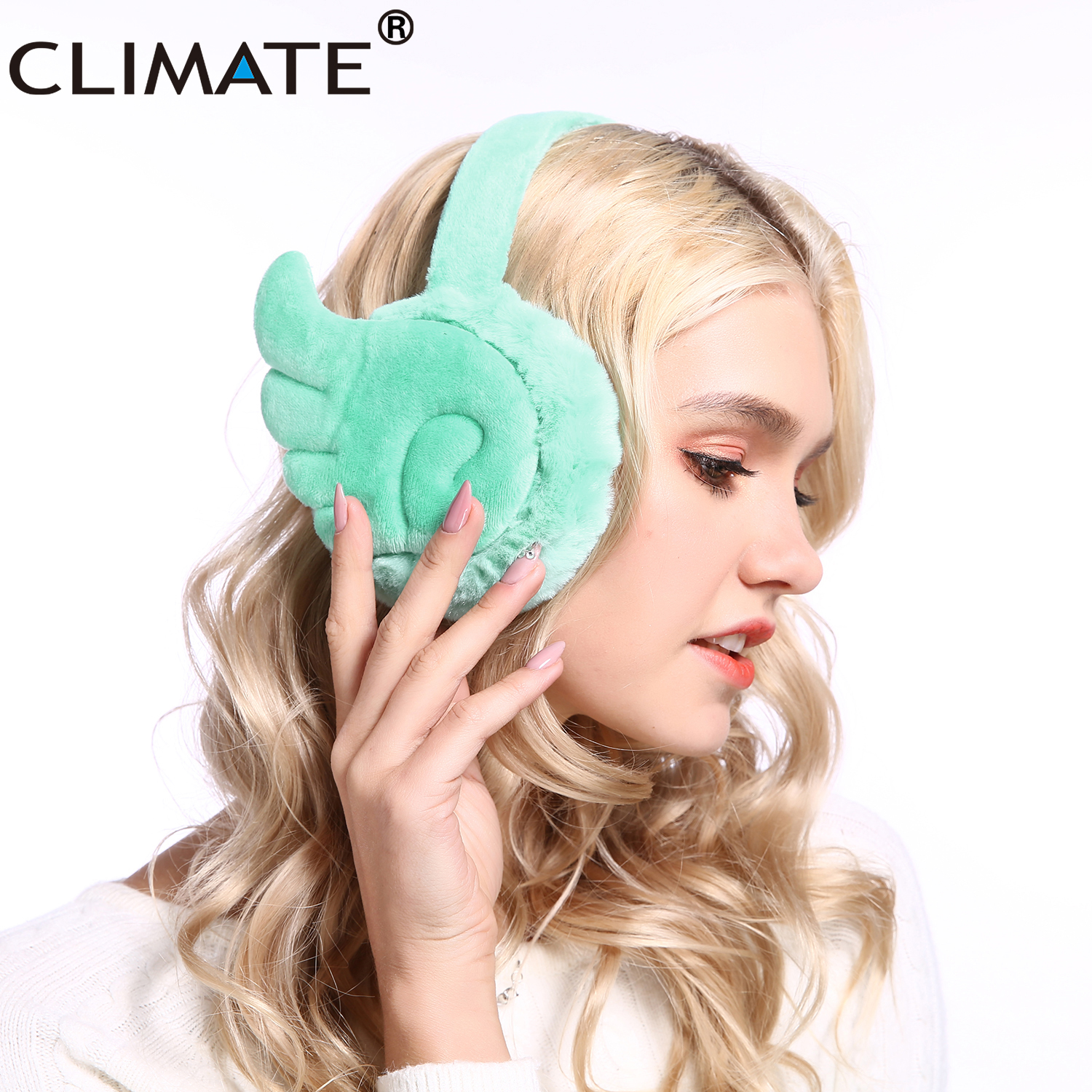 CLIMATE Women Cute Earmuffs Angle Ear Muffs Lovely Wing Ear Muff Warmer Lovely Warm Ear Muffs For Women Teenager Girls