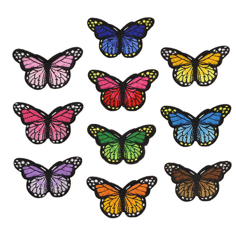 10PCS Mix Iron on Patches for Clothing Multicolor Butterfly Embroidery Patches DIY Appliques Badge Stickers for Clothing 44x30mm