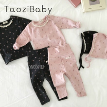 Korean Baby Romper Spring And Autumn And Winter Female Baby Autumn Clothes Long Trousers Home Service Suit Baby Three piece Suit