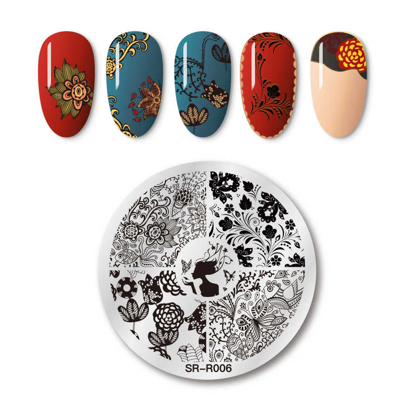 Four Lily Nail Stamping Plates Plant Flower Leaves Series Mixed Pattern Image Stamp Stainless Steel Nail Art Template Decoration