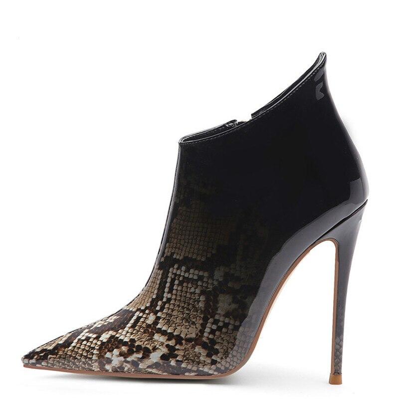 YECHNE Winter women Spicy nose Martin Laarzen Snake skin Pattern Chelsea Laarzen Woman Shoes High heels Single Laarzen Yellow