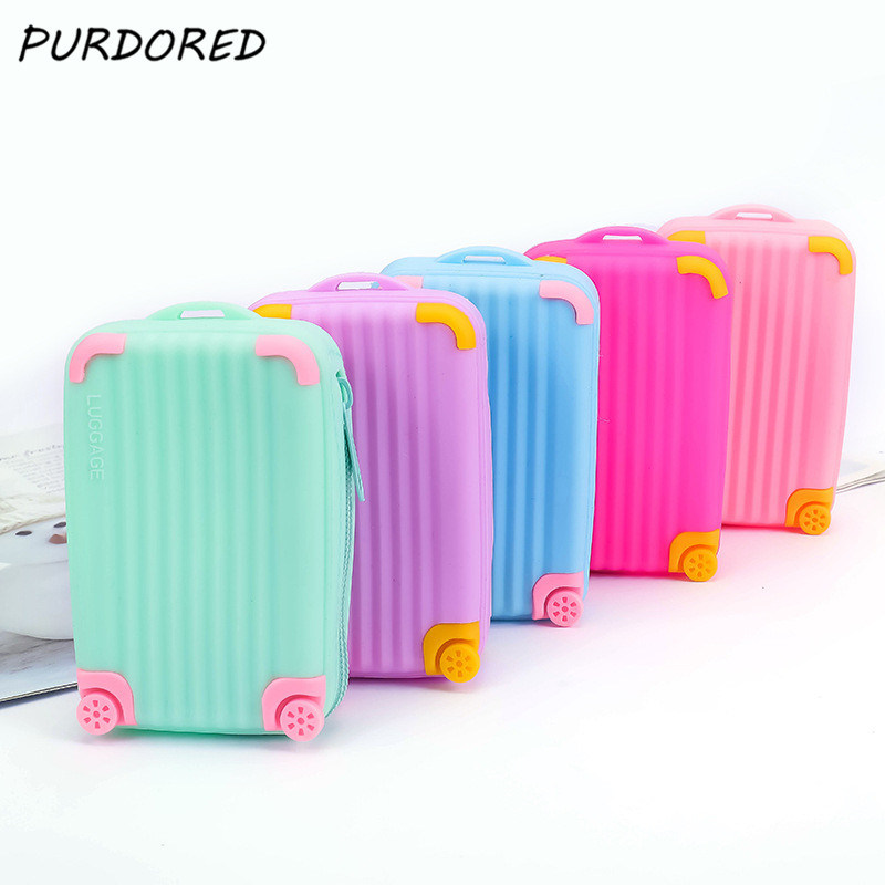 PURDORED 1 Pc Mini Suitcase Shape Lipstick Bag Waterproof Women Small Card Bag Soft Zipper Luggage Storage Bag Necessarie