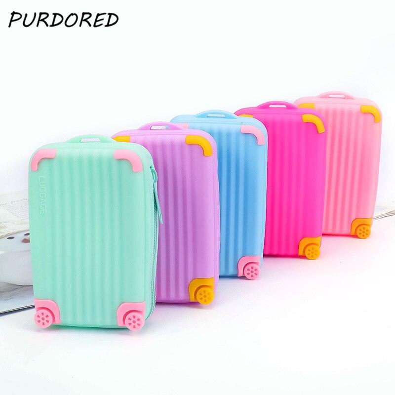 PURDORED 1 Pc Mini Suitcase Shape Lipstick Bag Waterproof Women Small Card Bag Soft Zipper Luggage Storage Bag Necessarie