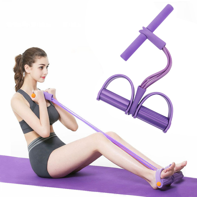 4 Tubes Resistance Bands Elastic Pull Ropes Exerciser Rower Belly Home Gym Sport Training Elastic Band For Fitness Equipment 1