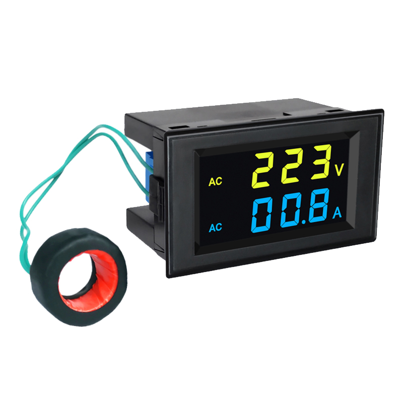 Цифровой цветной двойной Diplay AC Вольтметр Амперметр AC 80-300V 0-100A ЖК-дисплей 2 в 1 тестер с трансформатором тока