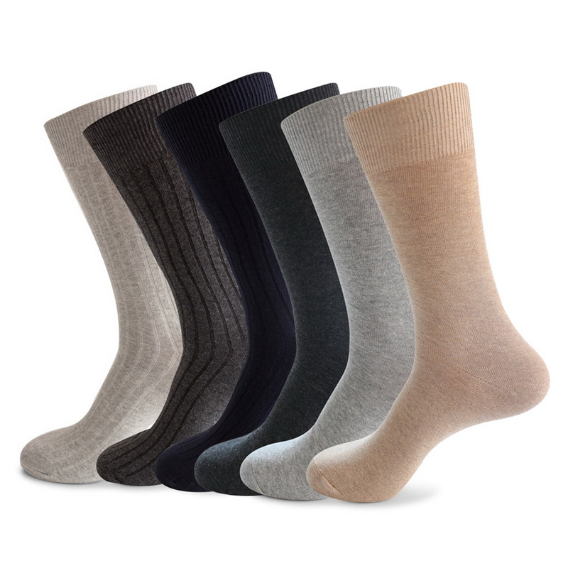 Dihope Cotton Business Casual Soft Socks Crew Men Ankle Dress Breathable Soft White Black Long Socks
