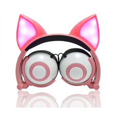 LIMSON Wired Cute Animal Fox Cat Ear Earphones foldable Gowing Kids Headphones Gift for Boys and Girls