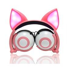 Limson 유선 귀여운 동물 여우 고양이 귀 이어폰 foldable gowing 아이 헤드폰 소년과 소녀를위한 선물