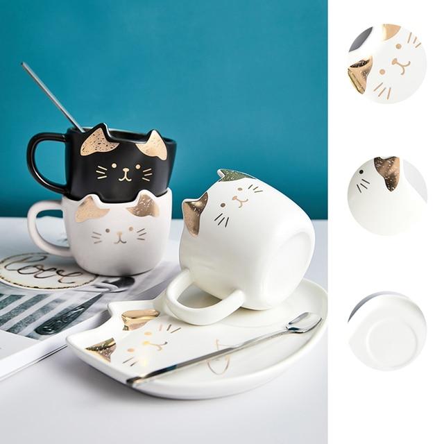 Cat Ceramic Coffee Cup Set  3