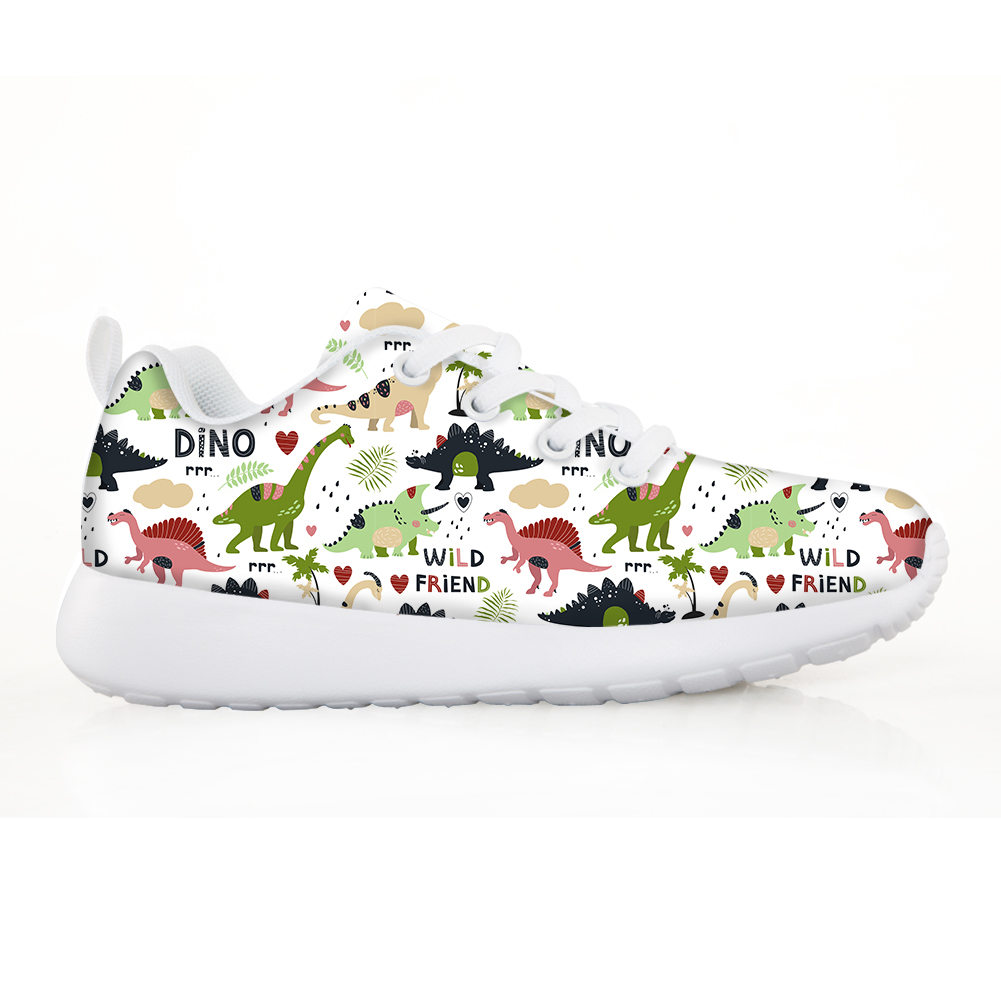 NOISYDESIGNS Kids Shoes Breathable Mesh Sneakers For Boys Girls Animals Dinosaur Printing Lace-up Children Shoes Tenis Infantil