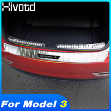 цена на Hivotd for Tesla Model 3 2019 Stainless Car Rear Boot Trunk Inner & Outer Bumper Protector Guard Sill Plate Cover Accessories