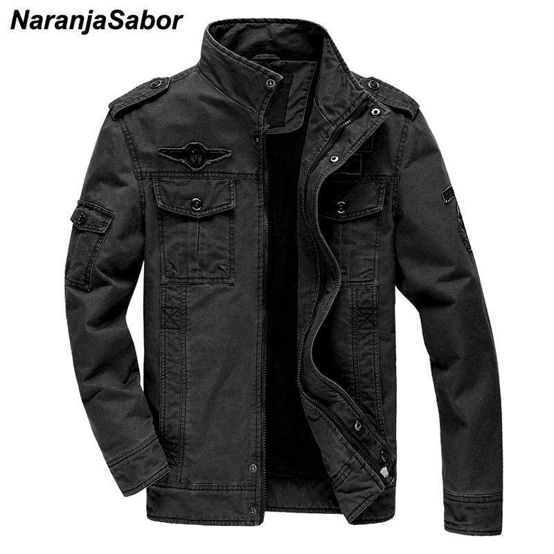 NaranjaSabor New Jacket Mens 2020 Autumn Men Solid Color Coat Male Fashion Military Outwear Large Size 6XL Brand Clothing N573